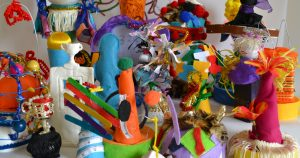 Many colourful sculptures