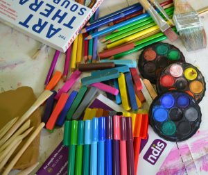 art materials and books