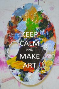 "Paint pallet that reads ""keep calm and make art"""
