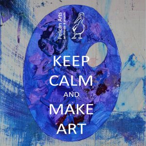 "blue pallet with text overlay ""keep calm and make art"""